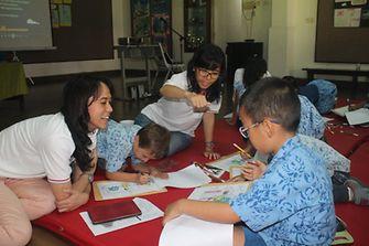 Henkel's Sustainability Ambassador explained sustainability through the colouring activity.