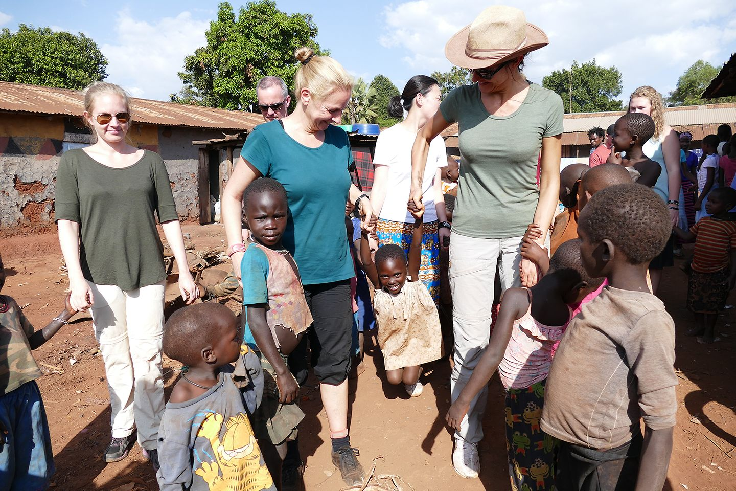 Playing with the visitors in Masese
