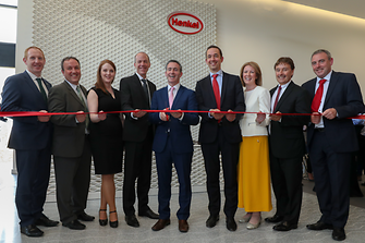 From left to right: Michael Lohan, IDA; Matthew Holloway, Henkel; Deirdre Ledwith, Henkel; Michael Todd, Henkel; Damien English, Government Minister; Philipp Loosen, Henkel; Michelle Yewlett, IDA; Jerry Perkins, Henkel; Peter Quinn, Henkel