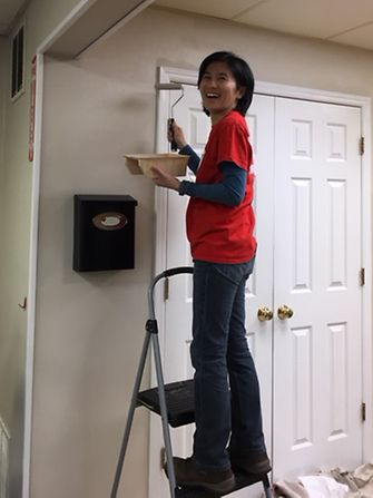 Izumi Shiba was one of 15 Bridgewater employees who volunteered at the Anderson House to help with upkeep of the home.