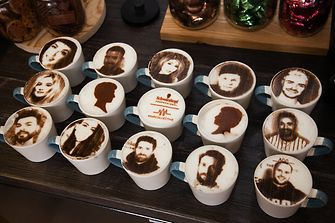 SKPCollective team portraits made with latte art